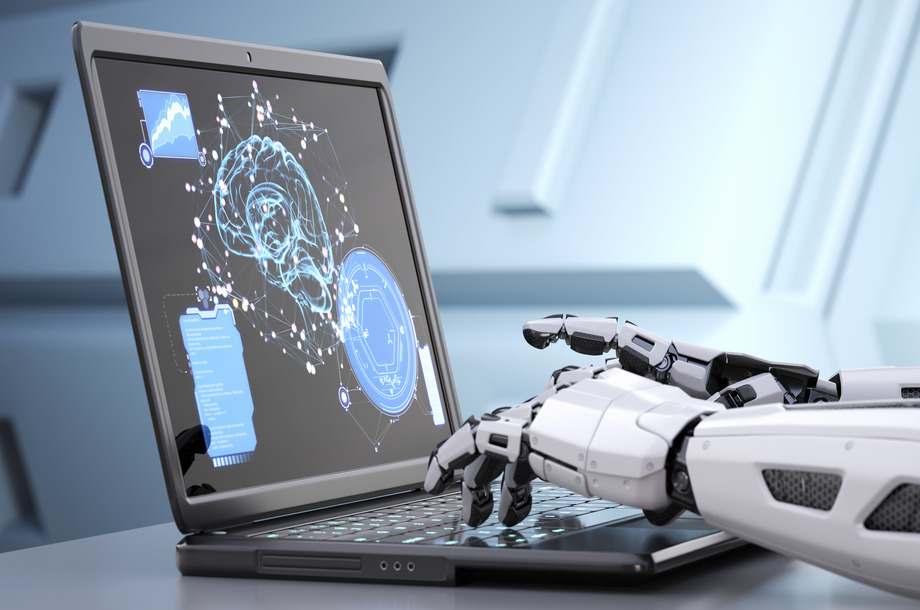 Robot's hands typing on keyboard