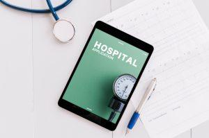 hospital app on a tablet